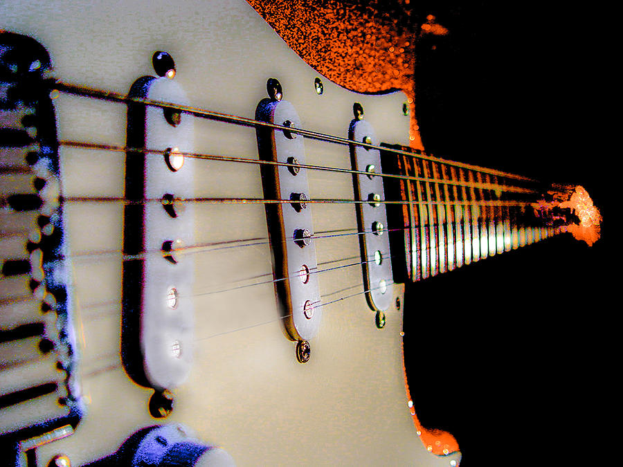 Fender Stratocaster Photograph - Stratocaster Pop Art Tangerine Sparkle Fire Neck Series by Guitar Wacky