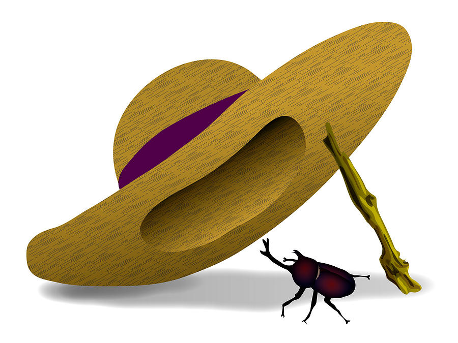 Straw Hat And Horn Beetle Digital Art by Moto-hal