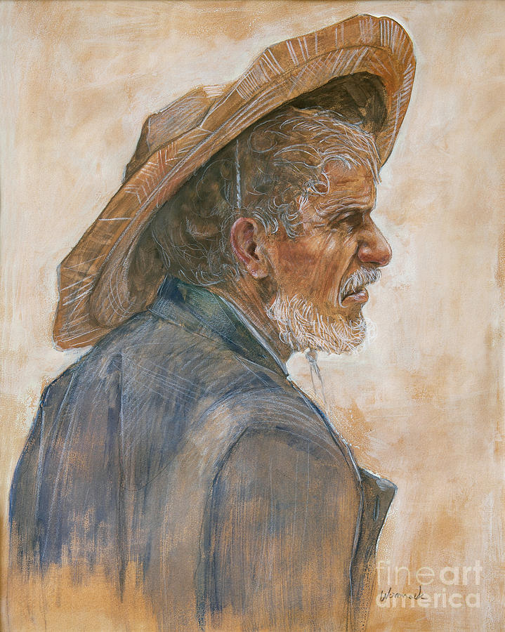 Gouache Painting - Straw Hat by Jonathan Wommack