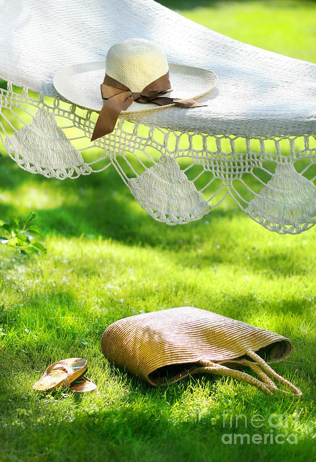 Bliss Digital Art - Straw Hat With Brown Ribbon Laying On Hammock by Sandra Cunningham