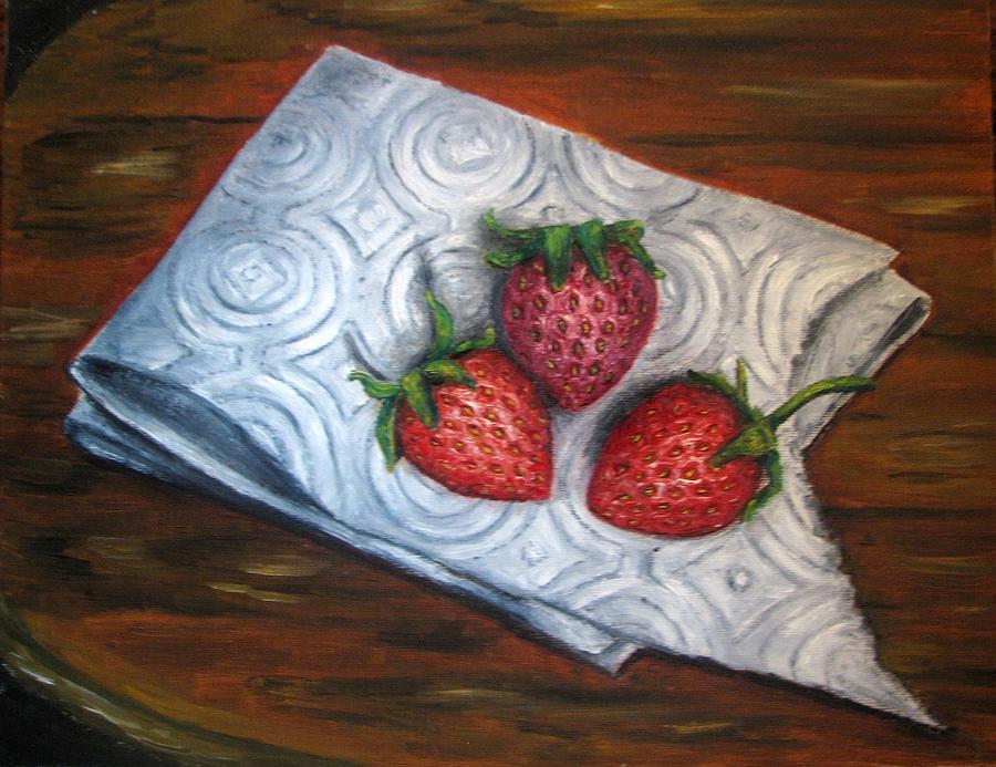 Strawberries Painting - Strawberries-3 Contemporary Oil Painting by Natalja Picugina