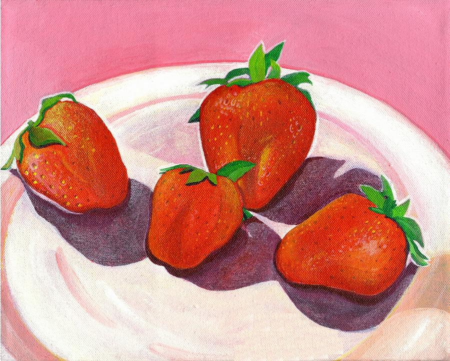 Food Painting - Strawberries And Cream by Helena Tiainen