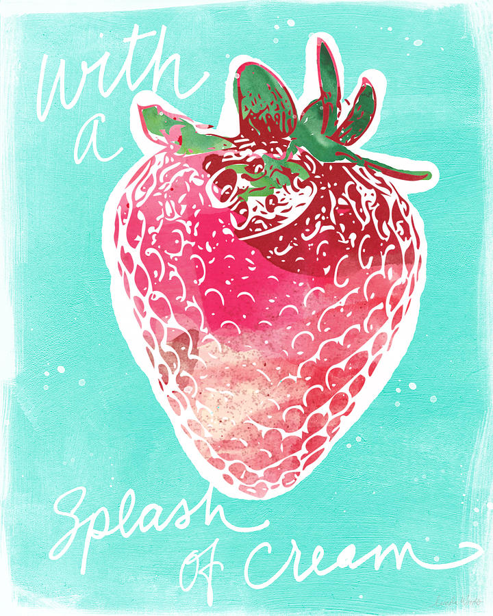 Strawberries And Cream Painting - Strawberries And Cream by Linda Woods