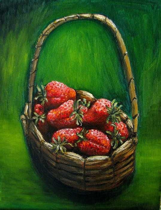 Strawberries Painting - Strawberries Contemporary Oil Painting by Natalja Picugina