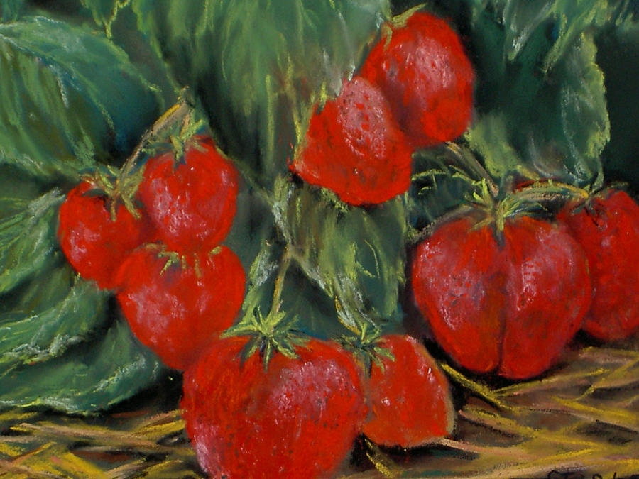Strawberries Painting by Dick Stolp
