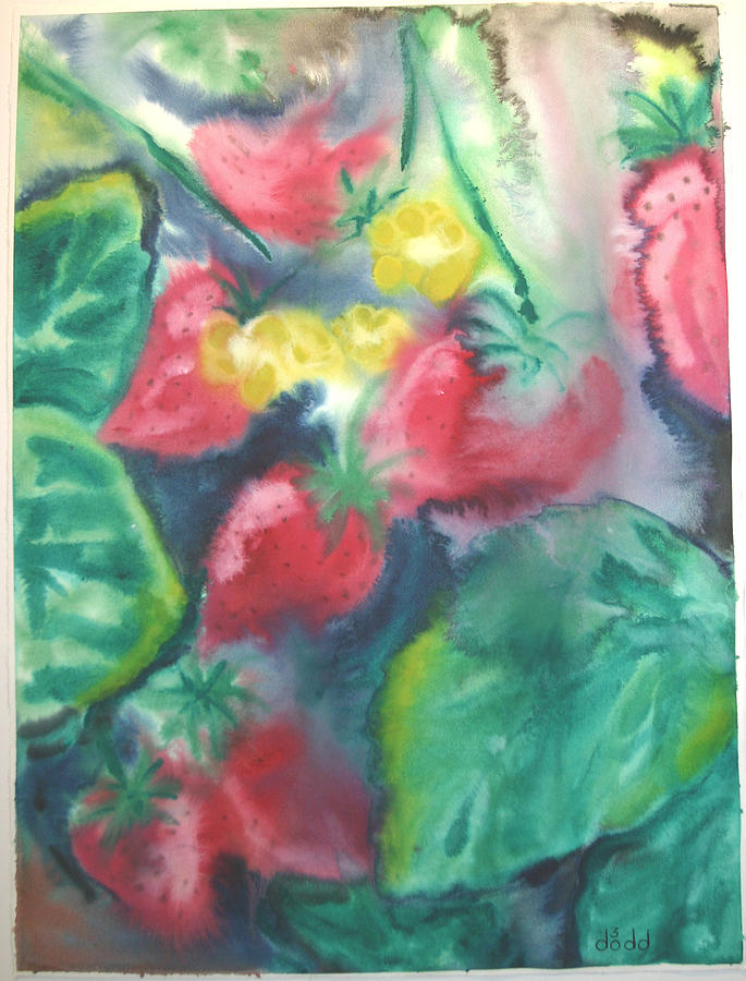 Garden Painting - Strawberries by Dodd Holsapple