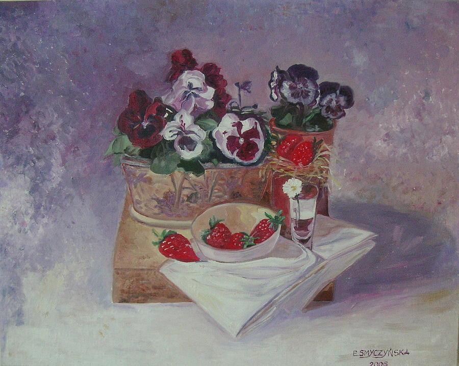 Strawberries Painting by Ewa Smyczynska