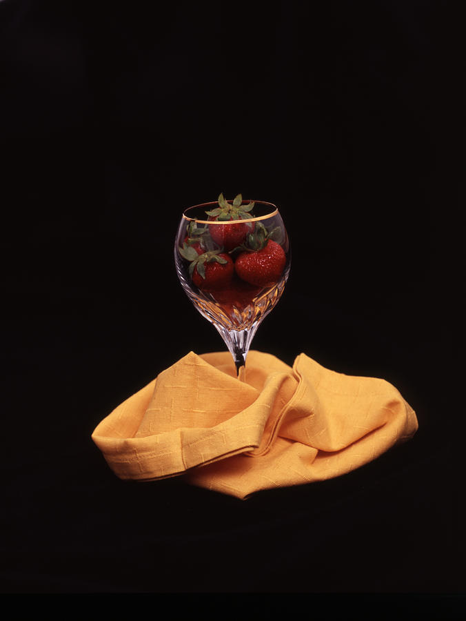 Glass Photograph - Strawberries In A Glass by Ayesha  Lakes