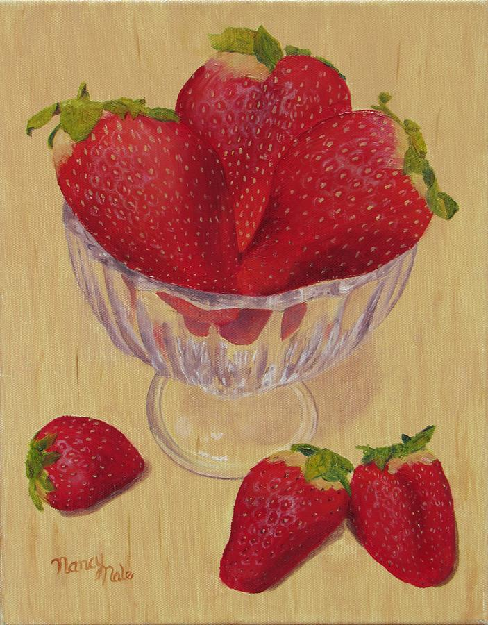 Strawberry Painting - Strawberries in Crystal Dish by Nancy Nale