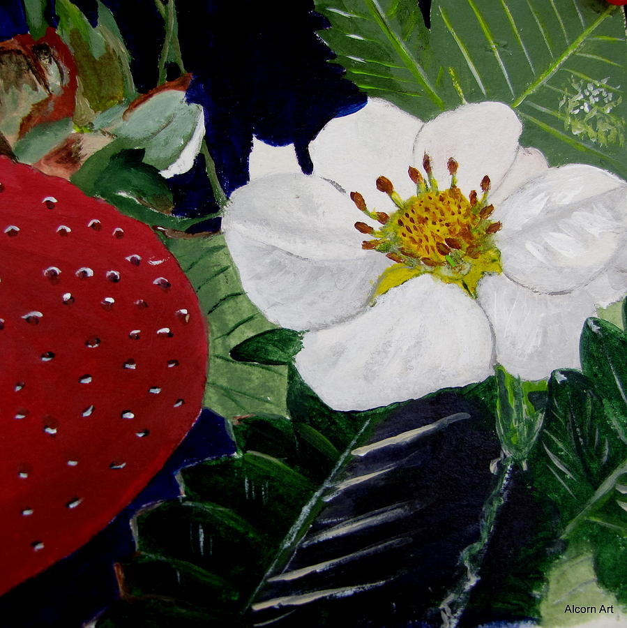 Strawberry Painting - Strawberry And Blossom by Brenda Alcorn