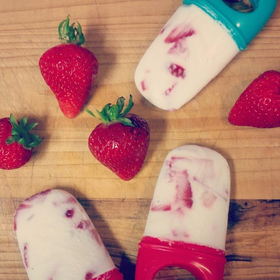 Strawberries Photograph - Strawberry Greek Yogurt Popsicles by Sophia Perez