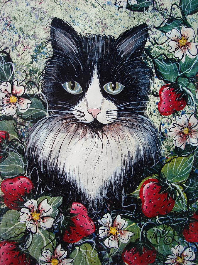 Cat Painting - Strawberry Lover Cat by Natalie Holland
