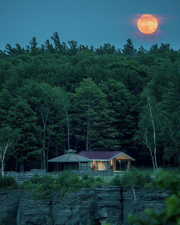 Moon Photograph - Strawberry Moon by Brad Wenskoski