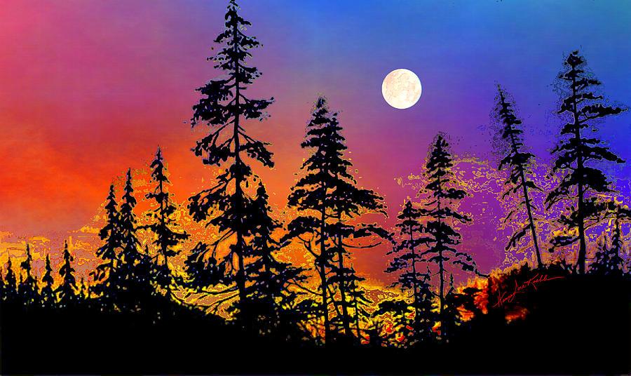 Strawberry Moon Sunset Painting
