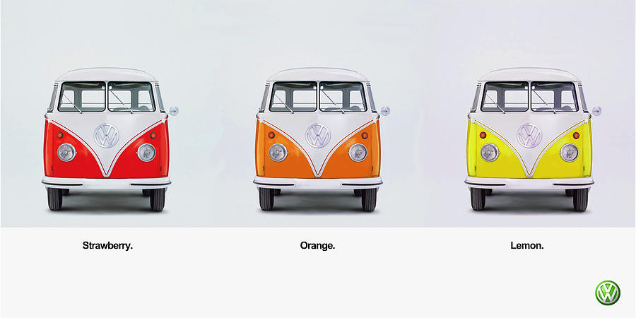 Vw Camper Van Photograph - Strawberry. Orange. Lemon. by Mark Rogan