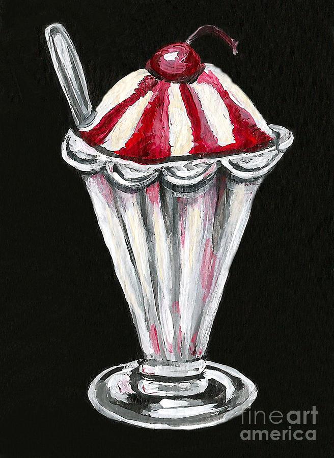 Acrylic Painting - Strawberry Sundae by Elaine Hodges