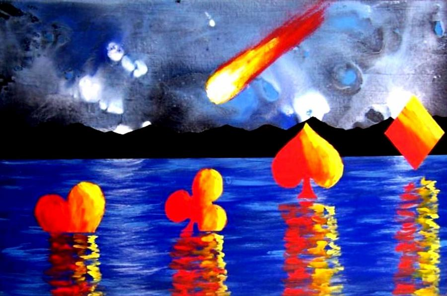 Streaking Painting - Streaking Comet Poker Art by Teo Alfonso