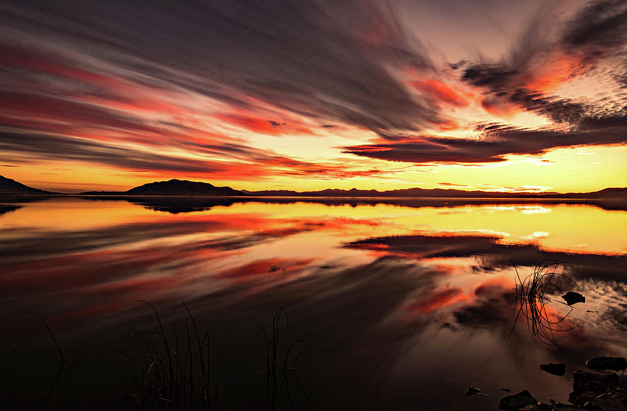 Streaks of Utah Lake by Wesley Aston