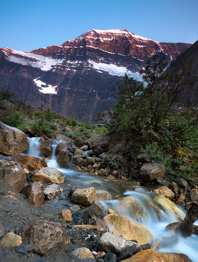 Stream And Mt. Edith Cavell At Sunset Photograph
