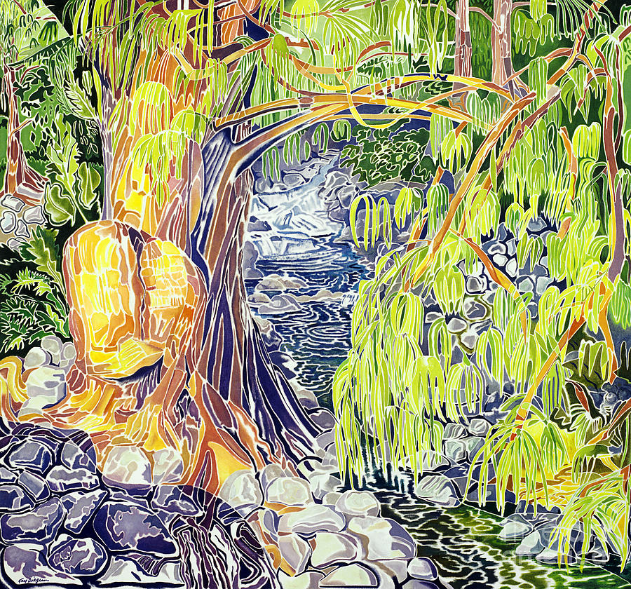 Abstract Painting - Stream At Laupahoehoe by Fay Biegun - Printscapes