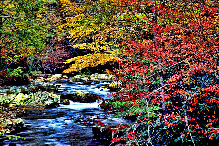 Landscape Photograph - Stream In Autumn by Kevin  Sherf