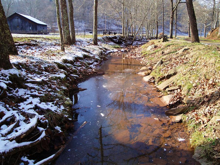 Rural Landscape Photograph - Stream With Snow And Ice by Terry  Wiley