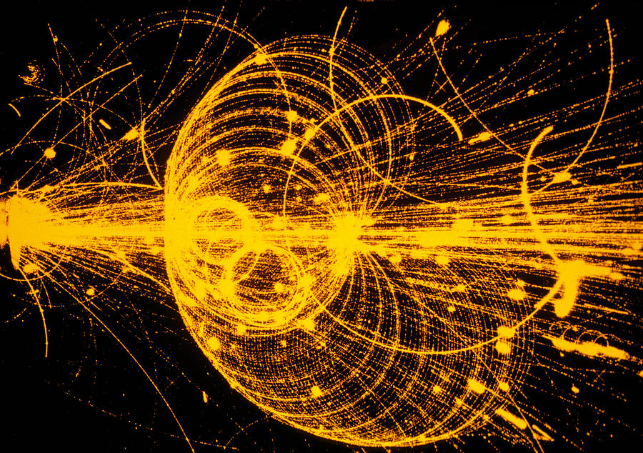 Particle Physics Photograph - Streamer Chamber Photo Of Particle Tracks by Cern