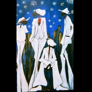 Figurative Painting - Street Committe by Shanequa Gay