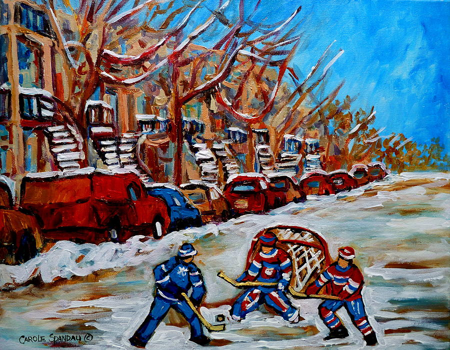 Montreal Painting - Street Hockey Hotel De Ville by Carole Spandau