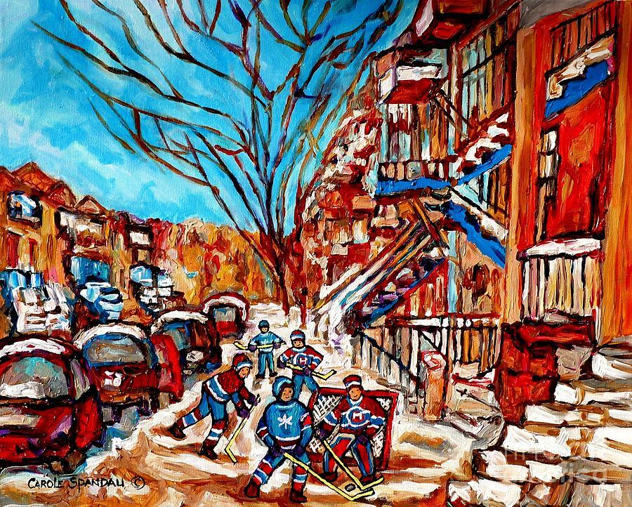Street Hockey Painting Winter City Scene Verdun Montreal