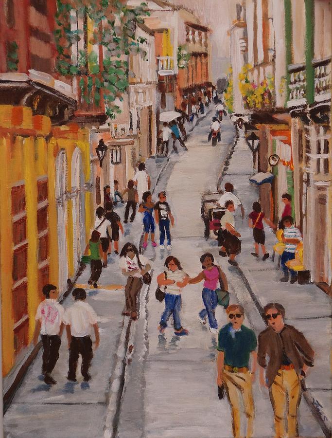 Landscape Painting - Street Life by Fran Steinmark