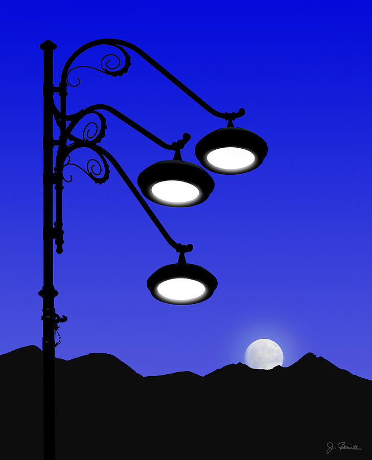 Street Light and Moonrise by Joe Bonita