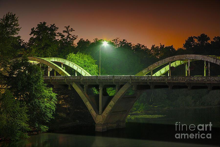 Street Light On Rogue River Bridge by Jerry Cowart