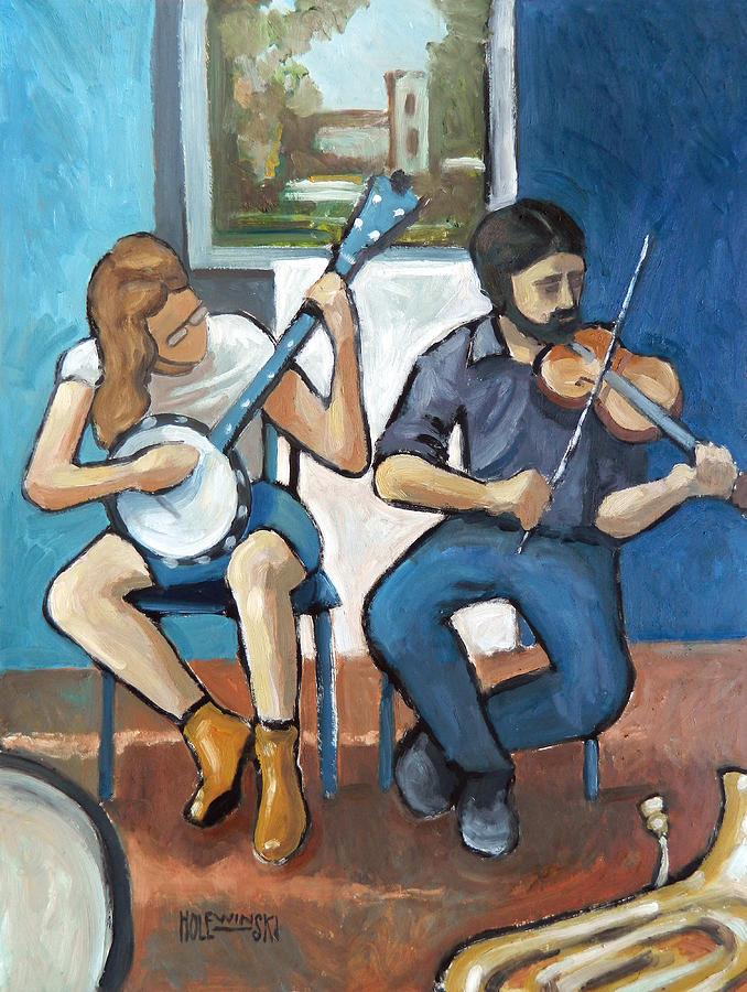 Charlottesville Painting - Street Musicians Downtown Charlottesville by Robert Holewinski