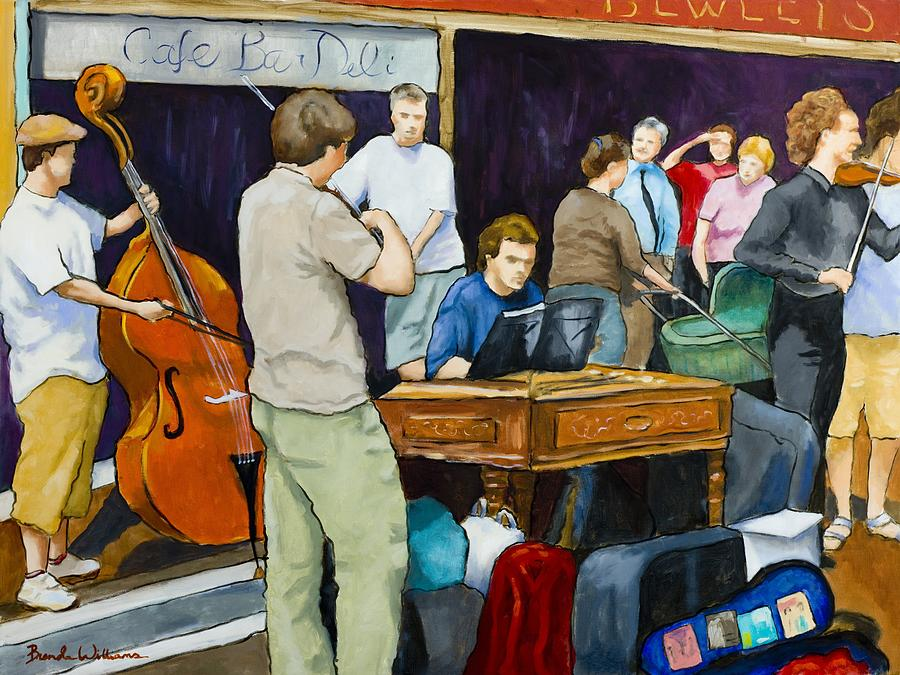 Figurative Painting - Street Musicians In Dublin by Brenda Williams