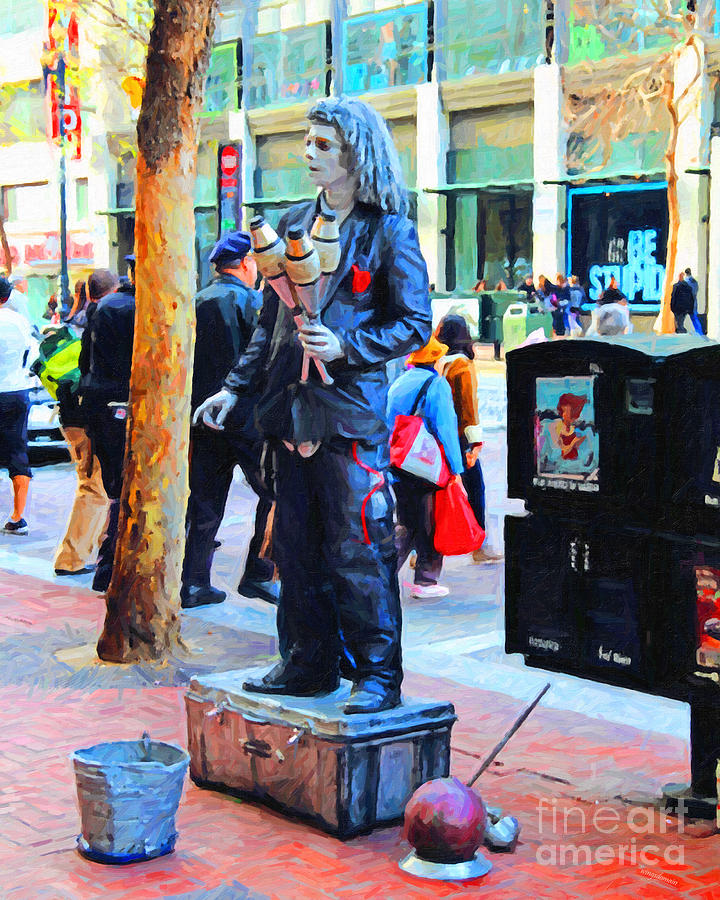 Market Street Photograph - Street Performer 2 . Photoart by Wingsdomain Art and Photography