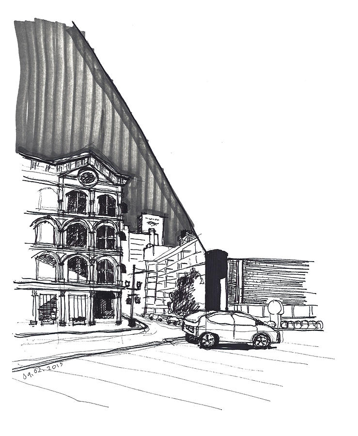 Street Scene at the Corner of Capitol Hotel by Yang Luo-Branch