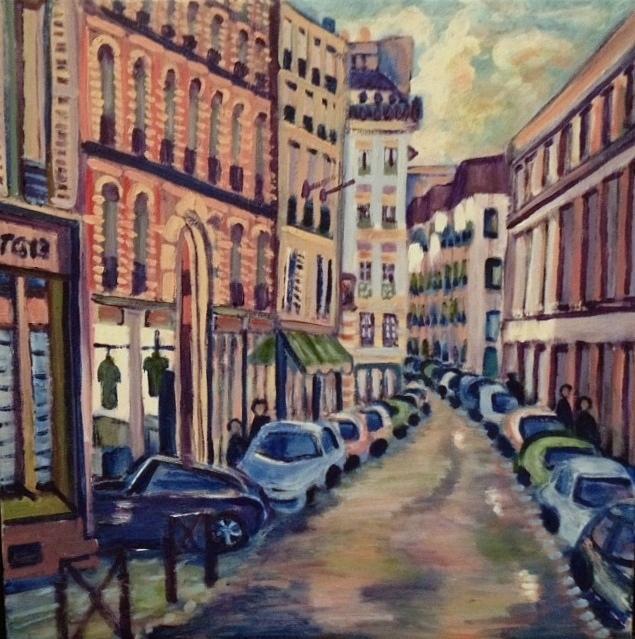 Landscape Painting - Street Scene Paris 1 by Fran Steinmark
