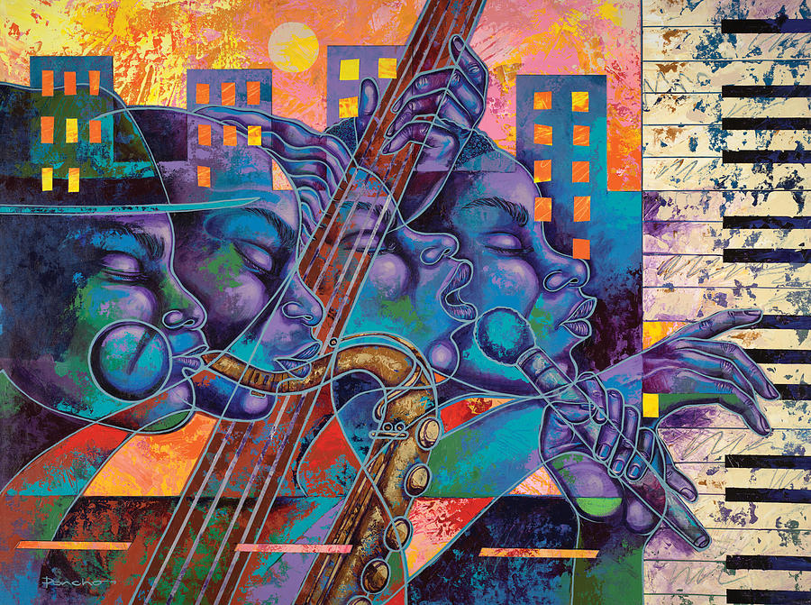 Figurative Painting - Street Songs by Larry Poncho Brown