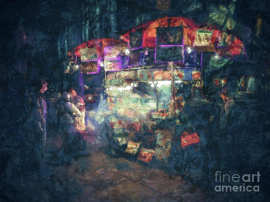 Vendor Digital Art - Street Vendor Food Stand by Phil Perkins