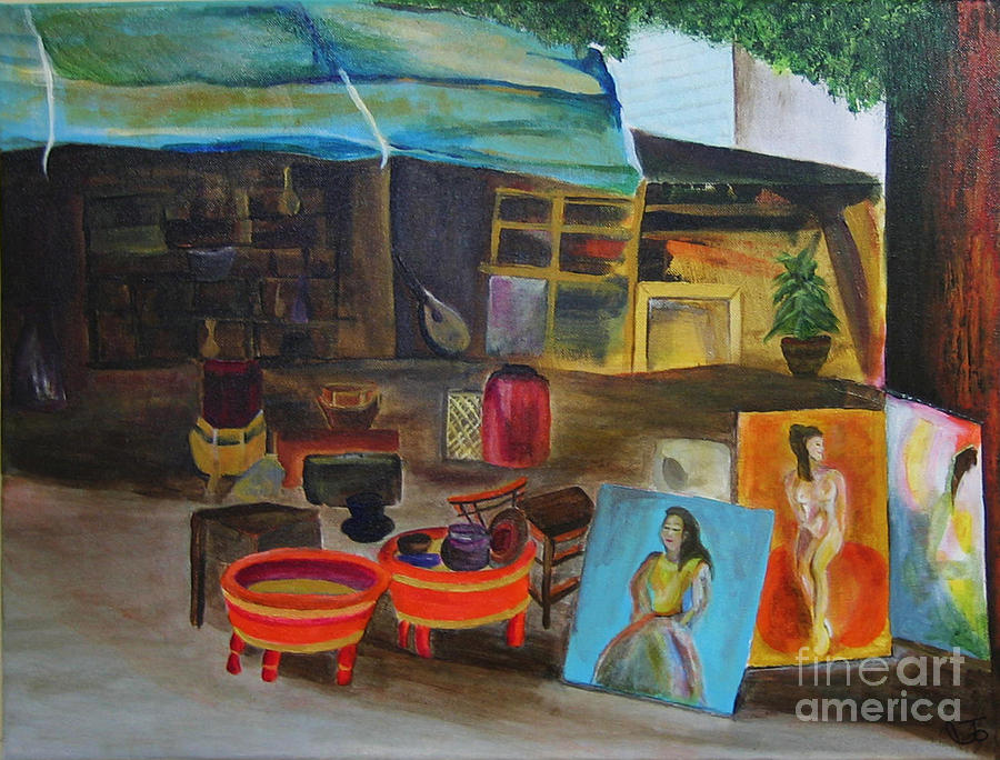 Street Painting - Street Vendor by Jo Baby