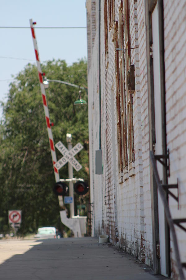 New Mexico Photograph - Street View of Railroad Crossing by Colleen Cornelius