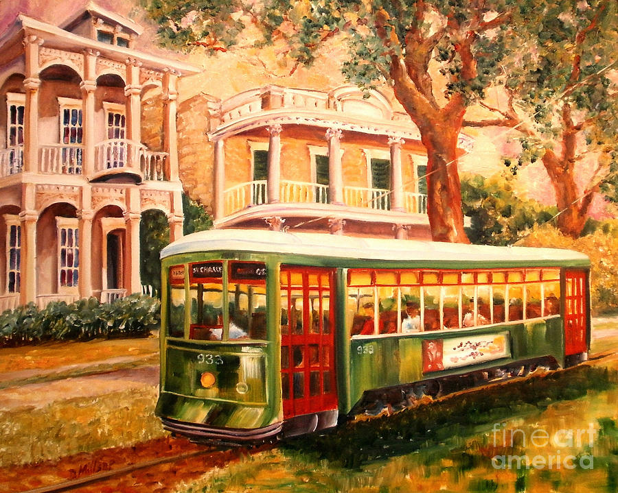 New Orleans Painting - Streetcar in the Garden District by Diane Millsap