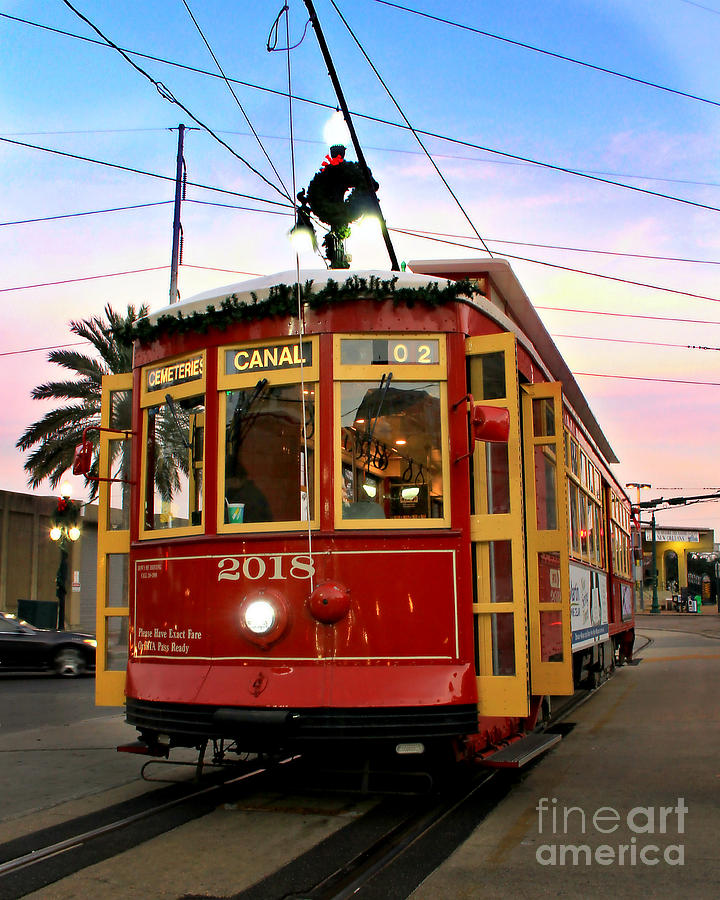New Orleans Photograph - Streetcar Sunset by Perry Webster