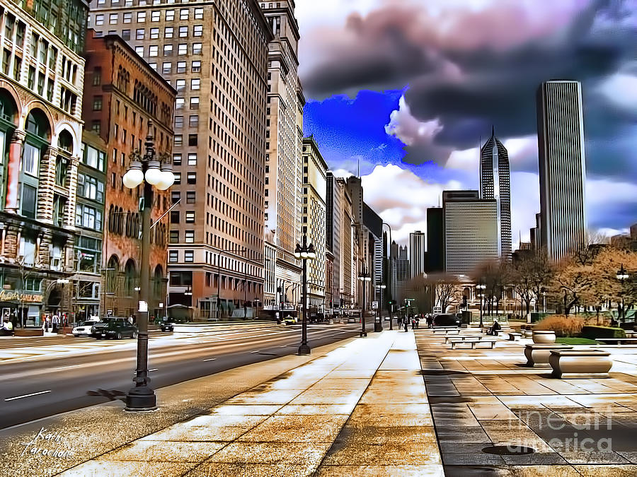 Chicago Digital Art - Streets Of Chicago by Kathy Tarochione