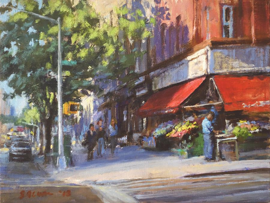 Landscape Painting - Streetscape With Red Awning - 82nd Street Market by Peter Salwen