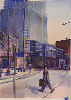 Cityscape Painting - Streetwalker by Marty Smith