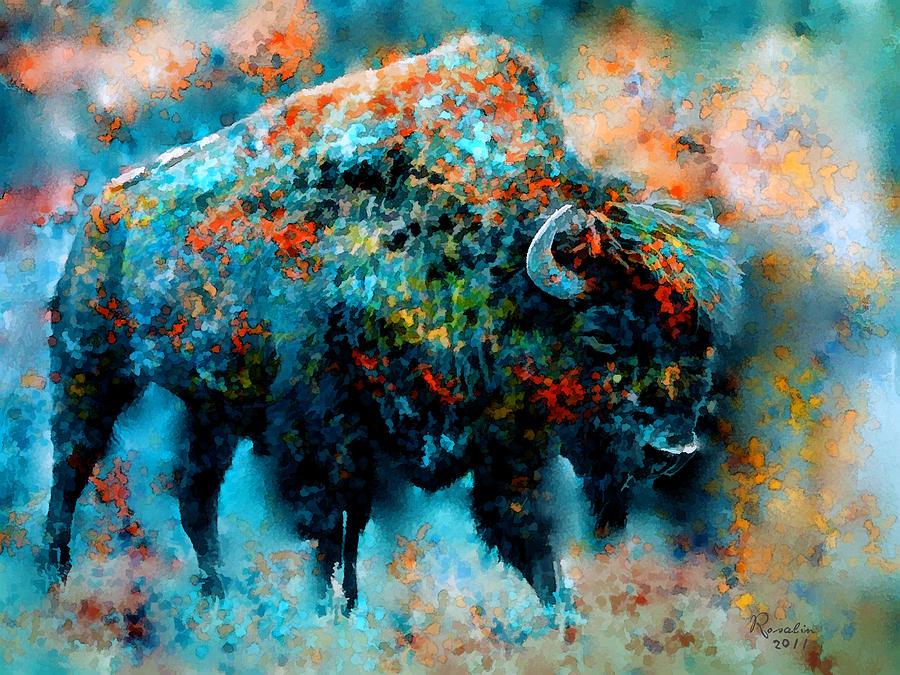 Buffalo Painting - Strength And Patience Of The Greatest by Rosalina Atanasova