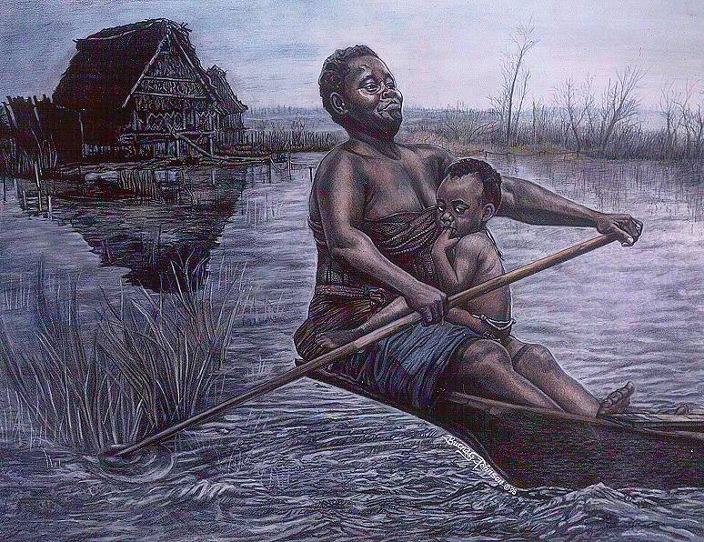 Child And Mother Painting - Strength And Pride by Buena Johnson