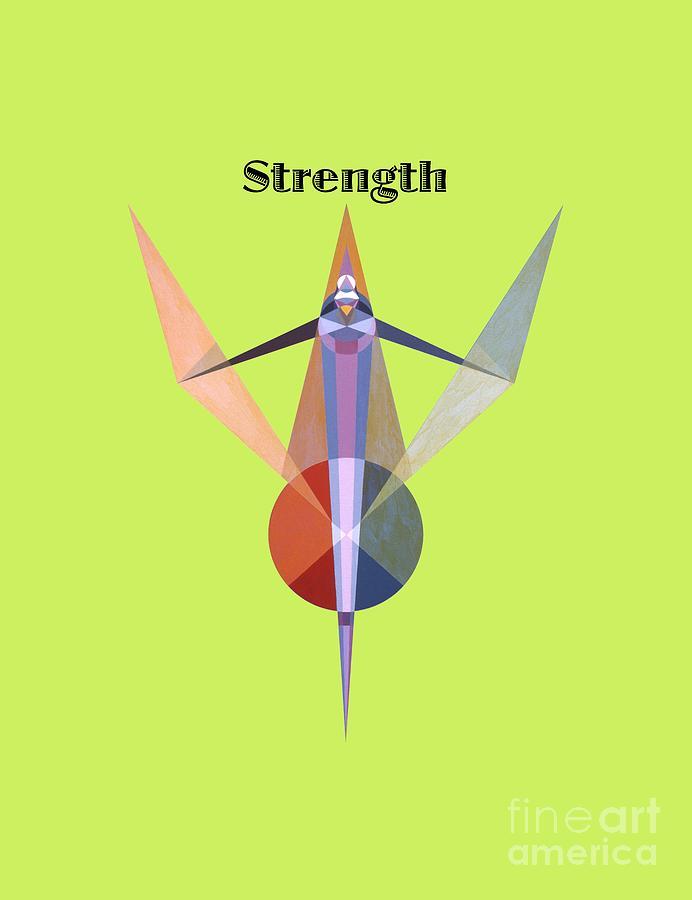 Tarot Painting - Strength text by Michael Bellon